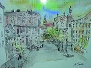 Zeichnung von Hans Beletz mit Blick auf den Schloßbergplatz und die Dreifaltigkeitskirche.