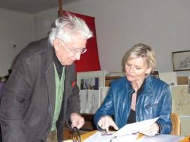 Josef Pillhofer im Wiener Staatsatelier im Gespräch mit Hedi Grager. 2008.