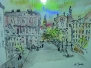 Zeichnung von Hans Beletz mit Blick auf den Schloßberplatz und die Dreifaltigkeitskirche.