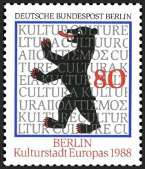 Briefmarke anläßlich Kulturhauptstadt Berlin 1988.