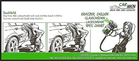 CARMEN-Werbe-Zettel mit Suchbild.