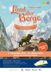 """Plakat zur Ausstellung """"Land der Berge""""."""