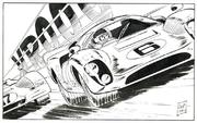 Christian Denayer  Alain Chevallier, Enfer pour un champion, (Detail) 1973  comic-car collection Rochus Kahr   © Christian Denayer, 2016