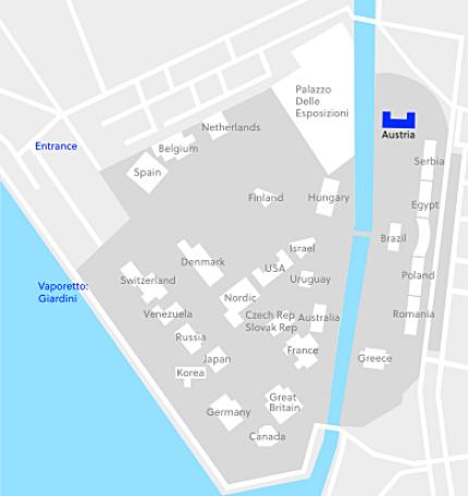 Österreichischer Pavillon in den Giardini della Biennale Venezia. Quelle: maps.google.com / www.bka.gv.at