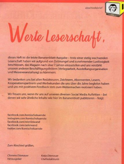 Bananenblatt-Abschiedsbrief der Herausgeber.