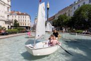 Beim Brunnen am Eisernen Tor gab es Action zu Wasser und zu Land. © Lunghammer - TU Graz