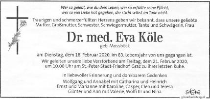 Dr. Eva Köle, Kleine Zeitung 20.2.2020