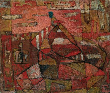 """Susanne Wenger, """"Der besoffene Matrose"""", ca. 1950, Öl auf Leinwand, kaschiert auf Hartfaserplatte, 42 x 49 cm, Neue Galerie Graz. Foto: Universalmuseum Joanneum/N. Lackner"""
