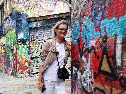 Hedi Grager in der Graffitistraat in Gent, Belgien. © Reinhard A. Sudy