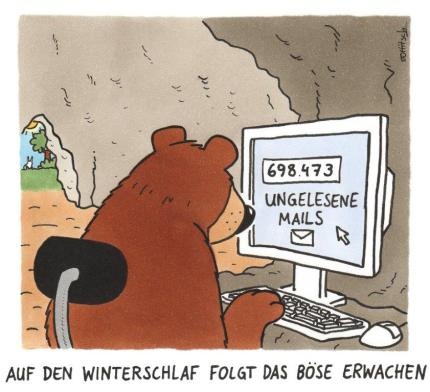 Cartoon von Oliver Ottitsch: Winterschlaf